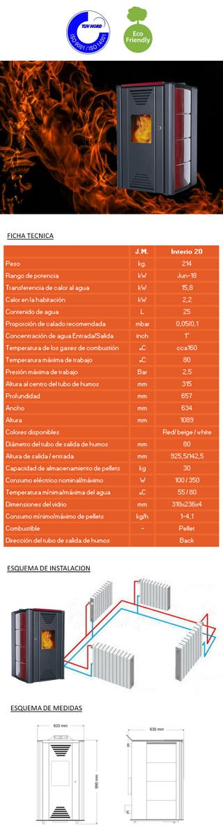 MEGA OFERTA Hidro-Estufa de PELLETS Interio 20kw