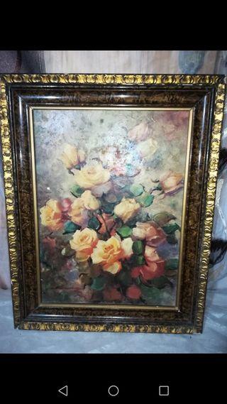 Antiguo cuadro lámina embarnizada 48 cm