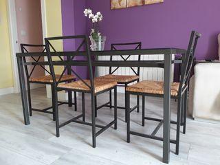 conjunto mesa y 4 sillas forja