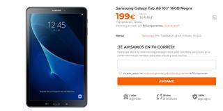 "Samsung Galaxy Tab A6 10.1"" 16GB Negra"