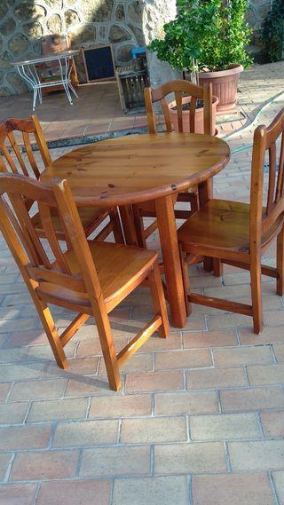conjunto mesa pino 0,90 y 4 sillas de Pino