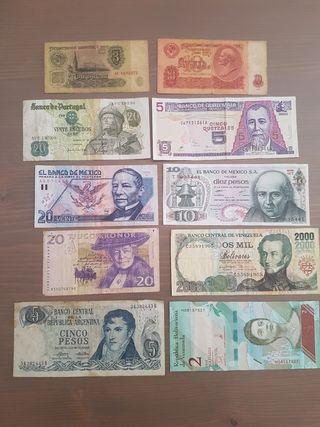 lote 10 billetes extranjeros