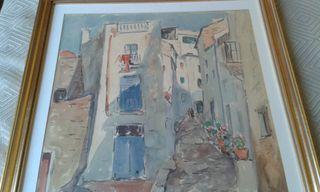 cuadro original antiguo paisaje catalán