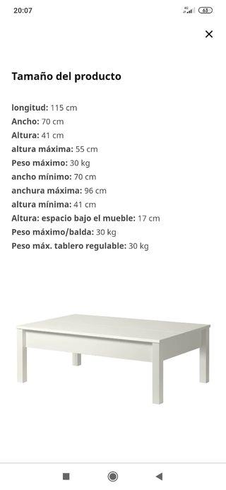 mesa centro ikea elevable blanca