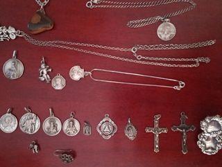Plata vintage , medallas y cadenas etc