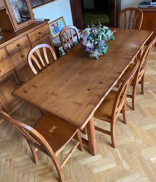Mesa y 6 sillas pino macizo