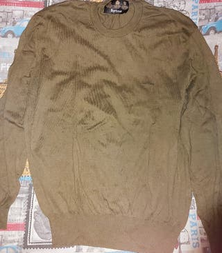 Jersey verde oscuro de lana fina marca Barbour