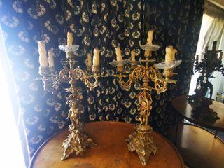 pareja candelabros bronce