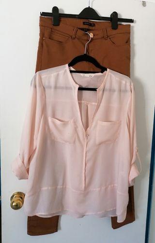 Panton y camisa sin cuello