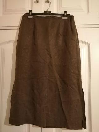 Falda talla 48 marrón Cupro