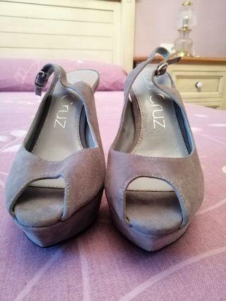 Zapato peeptoe sandalia tacón alto plataforma