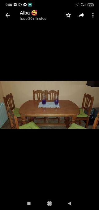 Mesa + 6 sillas pino mazizo
