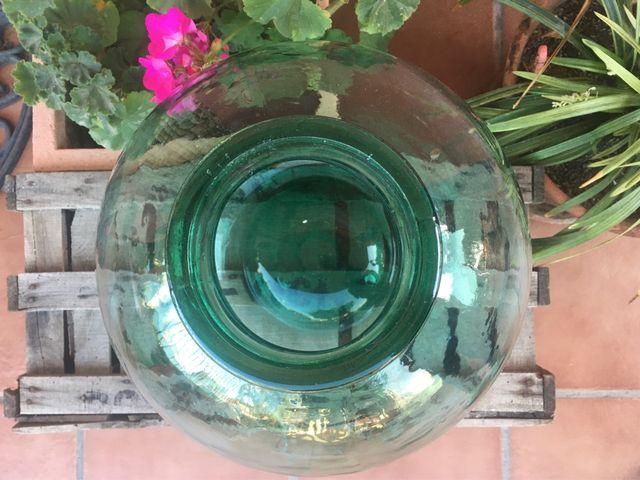 Antigua damajuana de boca ancha 16l de cristal