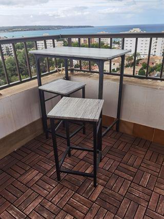 pack mesa alta terraza con 2 sillas tipo bar