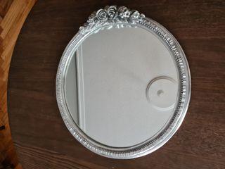 Espejo redondo plateado