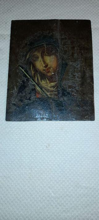Oleo sobre cobre de Santa Catalina Siglo XVIII