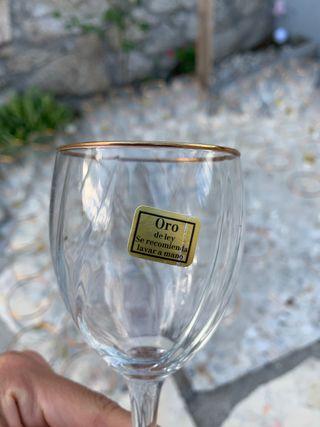 Juego de copas de cristal con ribete en oro ley