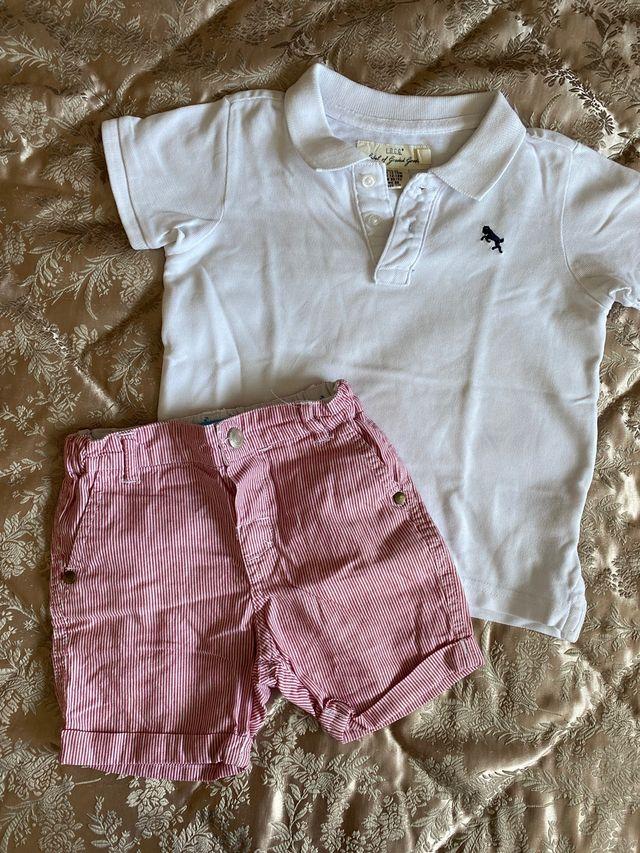 IMPECABLE CONJUNTO POLO 12-18m H&M y pantalon LITT
