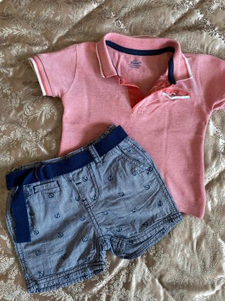 LOTE BEBÉ CONJUNTO POLO MARCA LITTLE REBEL 12-13 M
