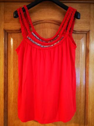 Top rojo Vero moda tall L aplicaciones canutillo