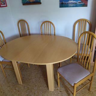 mesa redonda de comedor extensible