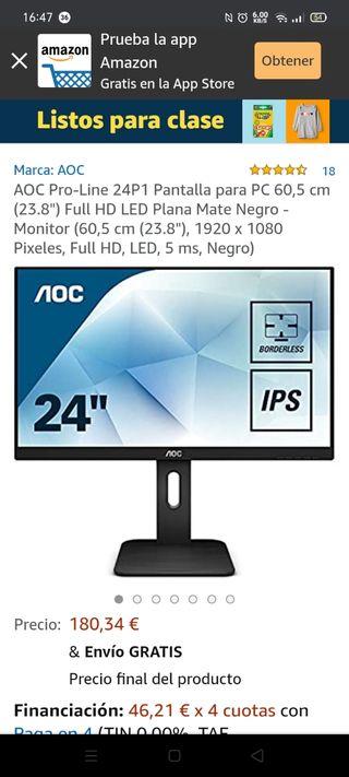 """Monitor AOC 24P1 LCD - PC (23.8"""") ¡¡NUEVO!!"""