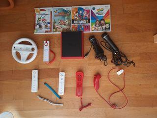 Wii Mini Roja + juegos + mandos + micrófonos + ...