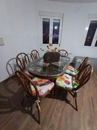 Mesa y 6 sillas con cojines