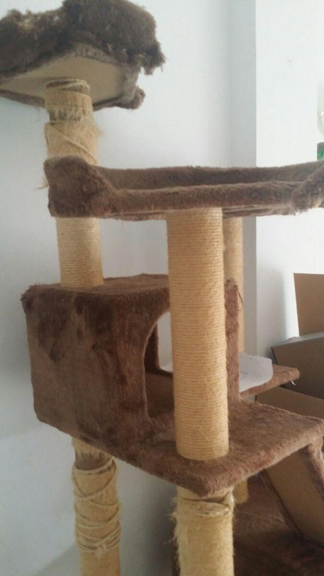 Rascador y casita para gatos.