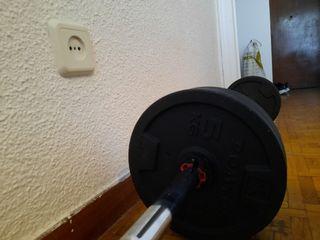 pesas (barra y discos 30 kg )