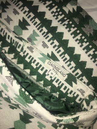 Falda étnica nueva verde y blanca talla M