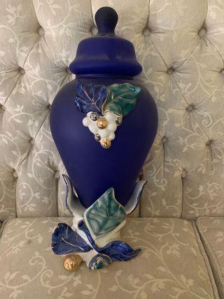 Jarrón de cristal y cerámica