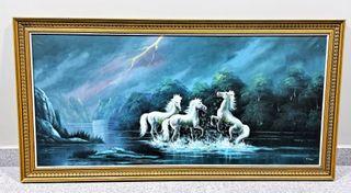 Gran cuadro óleo caballos