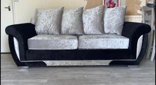 Crushed velvet sofa with double sofa bed