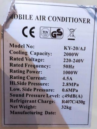 Aire acondicionado portatil