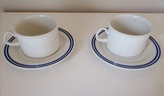tazas con platos grandes café con leche. Pontesa