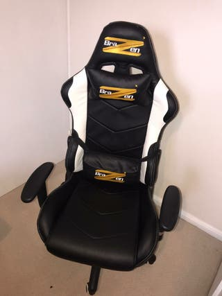 BraZen - Black and White gaming chair