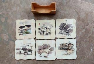 Posavasos vintage de madera