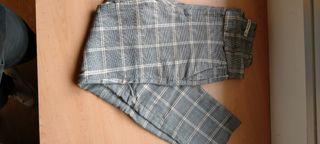 pantalon de pinza de cuadros gris