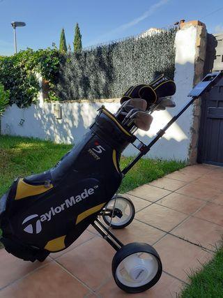 Carro, bolsa y palos de golf