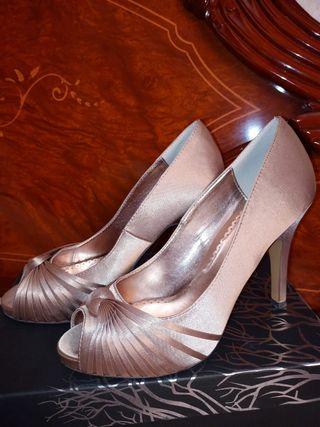 zapatos salon abierto champagne