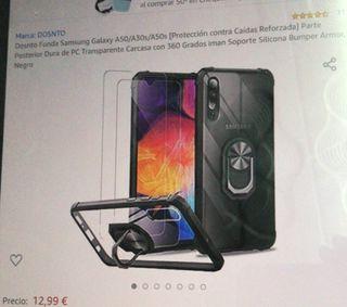 Funda de Samsung galaxy A50 con dos cristal