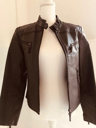 Womens Leather Brown Top Size 14