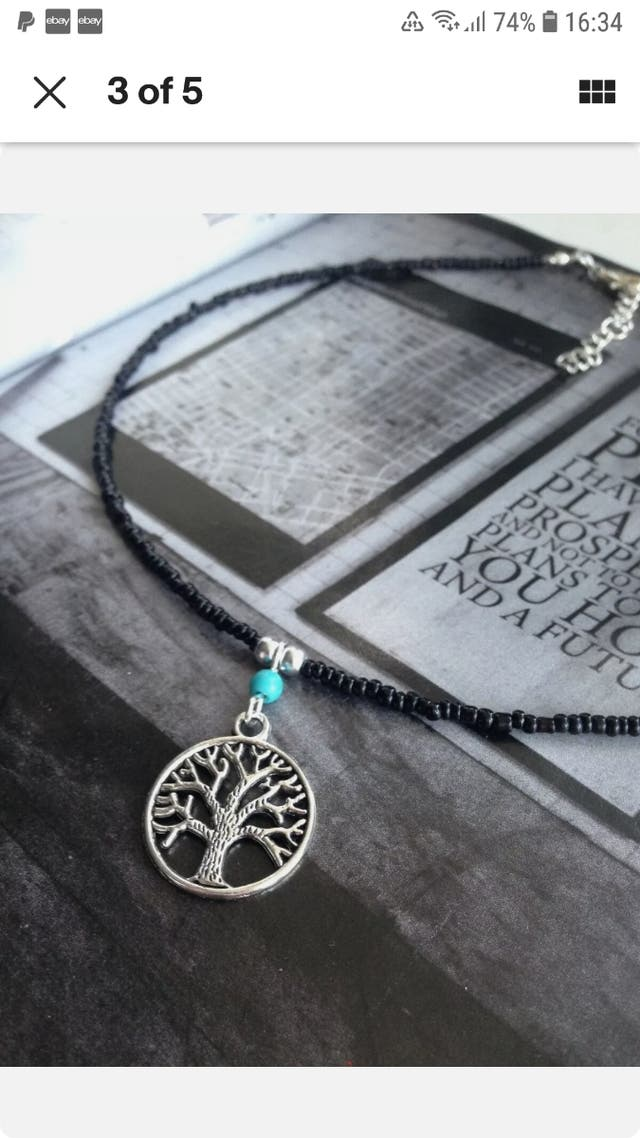 Black seed beads tree of life necklace