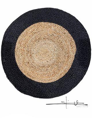 Alfombra YUTE - Redonda con Borde Negro