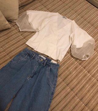 Blusa blanca Zara Talla S Nueva