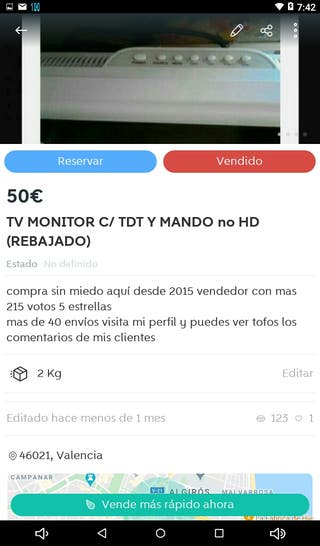 TV NEVIR C/TDT Y MANDO NO ES HD REBAJADO