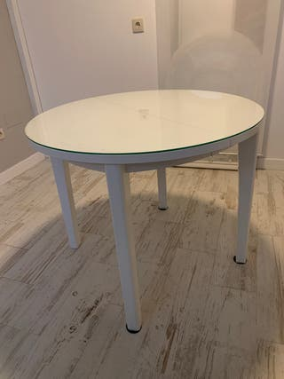 Mesa comedor extensible blanca