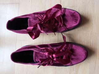 Zapatillas de terciopelo granate