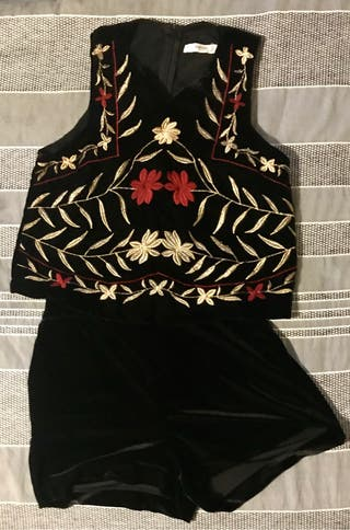 Black velvet top and shorts